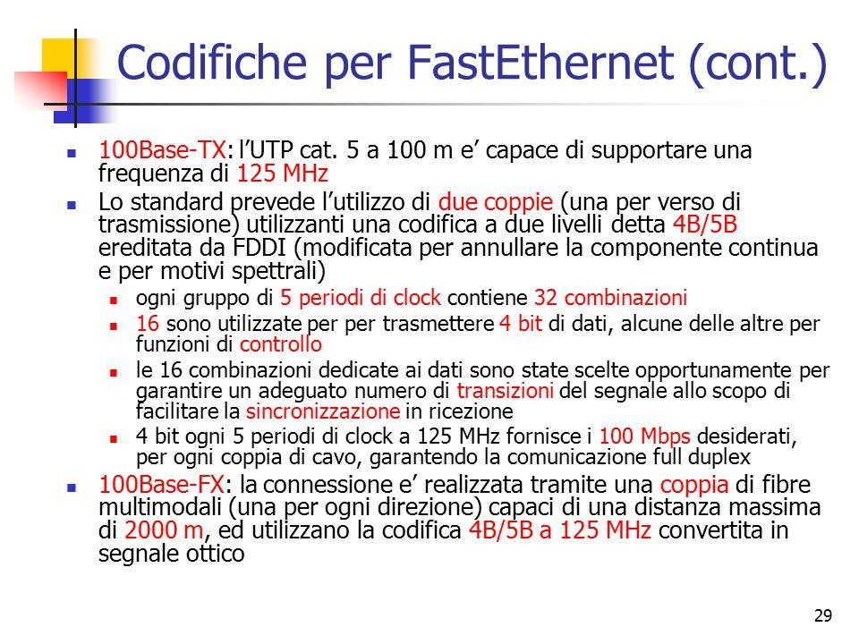 29 Codifiche per FastEthernet (cont.) 100Base-TX: l'UTP cat. 5 a 100 m e' capace di supportare una frequenza di 125 MHz Lo standard prevede l'utilizzo
