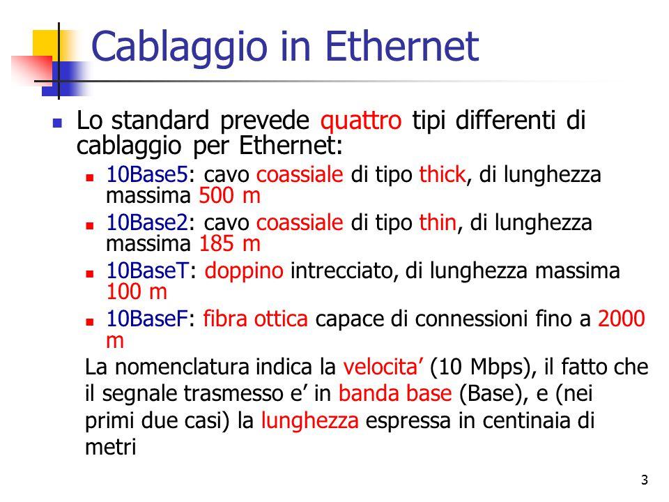 3 Cablaggio in Ethernet Lo standard prevede quattro tipi differenti di cablaggio per Ethernet: 10Base5: cavo coassiale di tipo thick, di lunghezza mas