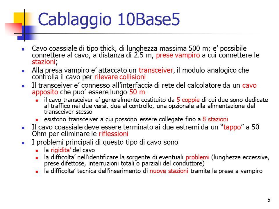 5 Cablaggio 10Base5 Cavo coassiale di tipo thick, di lunghezza massima 500 m; e' possibile connettere al cavo, a distanza di 2.5 m, prese vampiro a cu