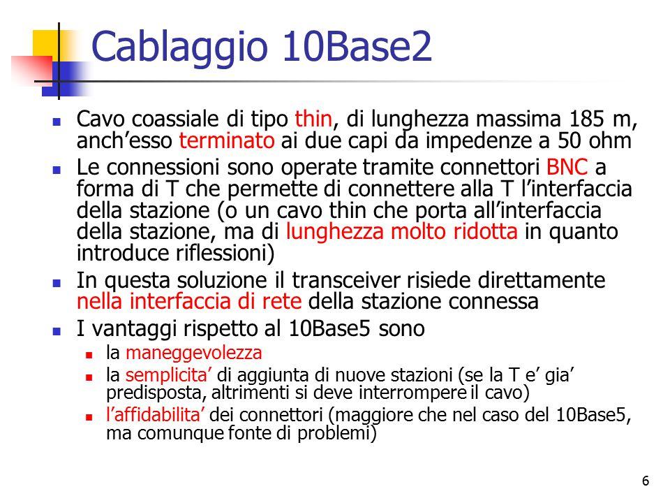 6 Cablaggio 10Base2 Cavo coassiale di tipo thin, di lunghezza massima 185 m, anch'esso terminato ai due capi da impedenze a 50 ohm Le connessioni sono