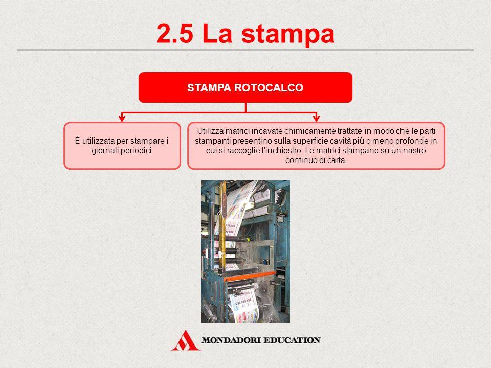 2.4 La stampa STAMPA SERIGRAFICA Utilizza come matrice telai in tessuto.