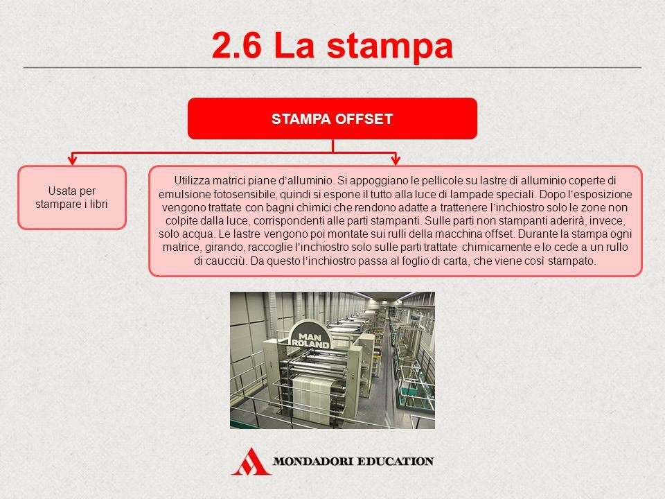 2.5 La stampa STAMPA ROTOCALCO Utilizza matrici incavate chimicamente trattate in modo che le parti stampanti presentino sulla superficie cavità più o meno profonde in cui si raccoglie l inchiostro.