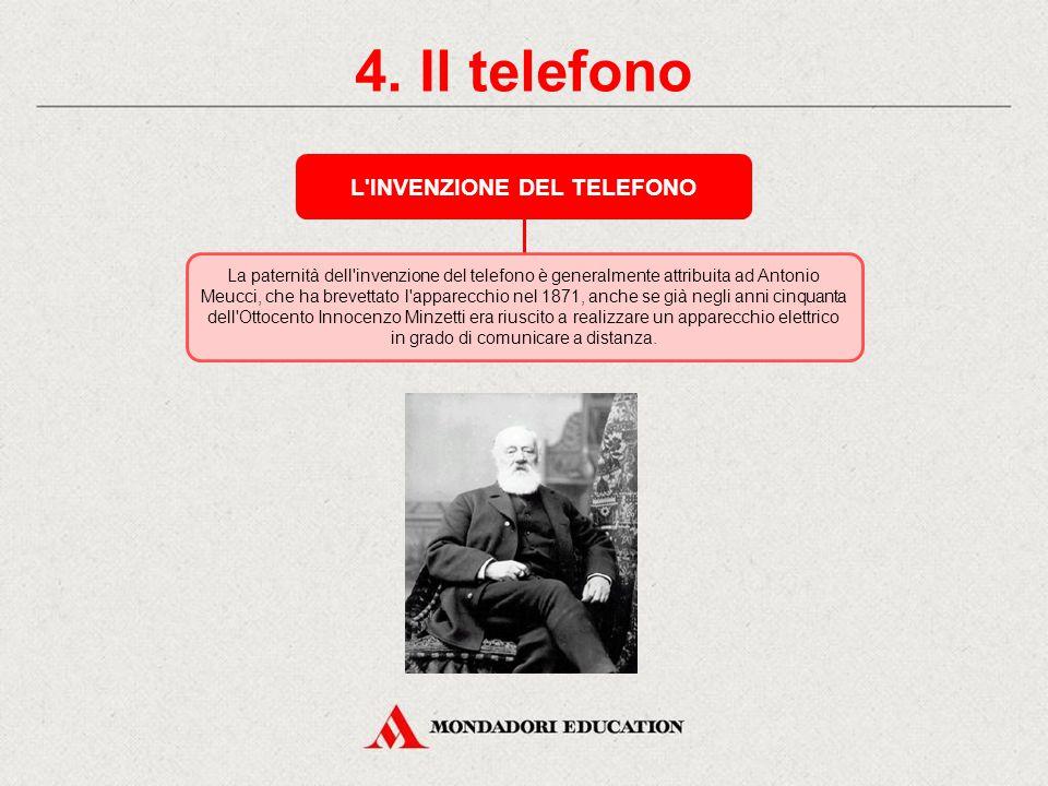 4. Il telefono IL TELEFONO Il telefono è un apparecchio che consente di effettuare una comunicazione fra due utenti a distanza.