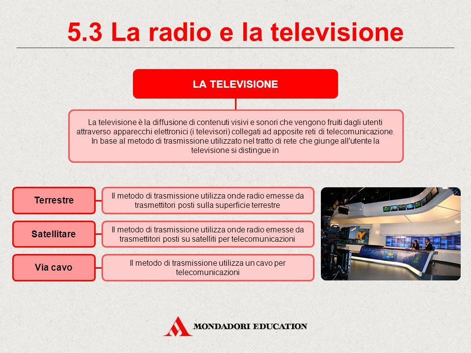 5.2 La radio e la televisione LA RADIO La radio è un apparecchio elettronico che permette di trasmettere e/o ricevere onde radio.