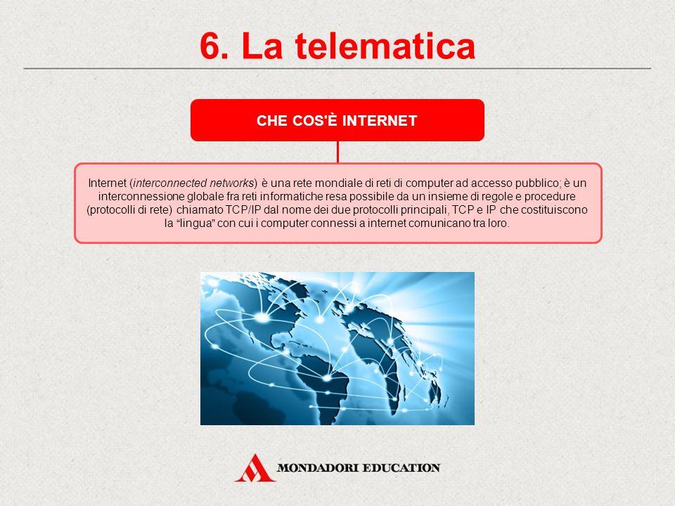 6. La telematica NASCITA DI INTERNET Internet trae origine dalla grande rete di computer organizzata dal Ministero della Difesa degli USA nel 1969 e d