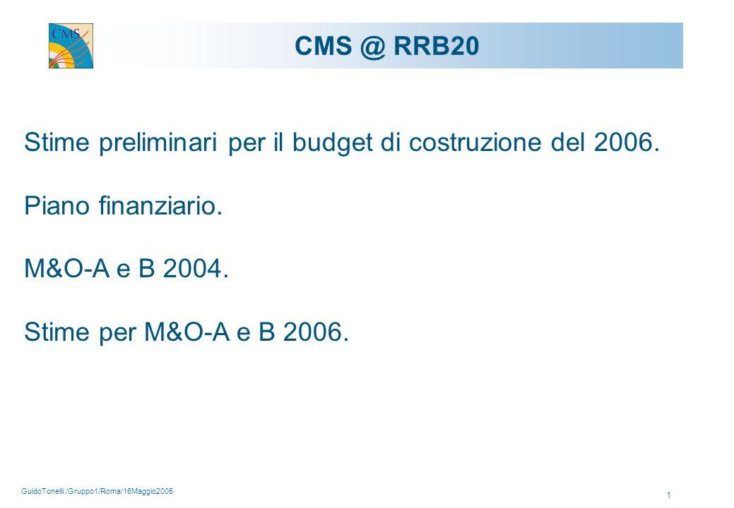 GuidoTonelli /Gruppo1/Roma/16Maggio2005 1 CMS @ RRB20 Stime preliminari per il budget di costruzione del 2006.