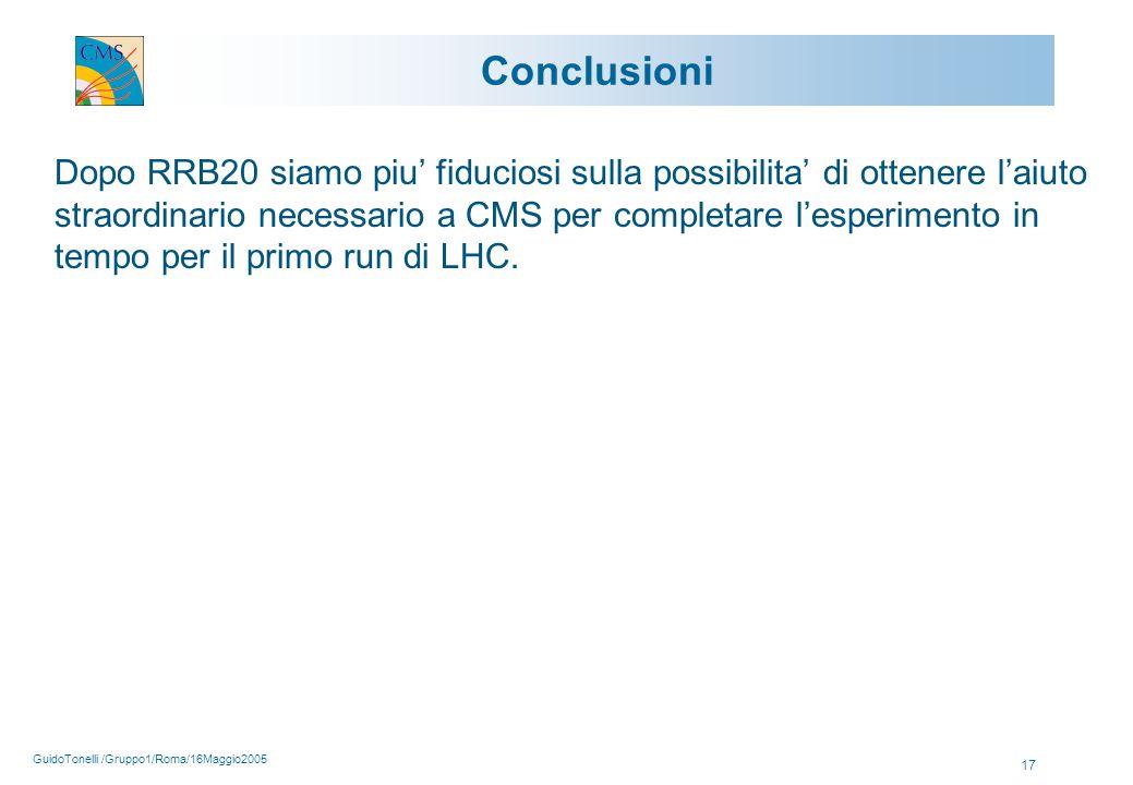 GuidoTonelli /Gruppo1/Roma/16Maggio2005 17 Conclusioni Dopo RRB20 siamo piu' fiduciosi sulla possibilita' di ottenere l'aiuto straordinario necessario a CMS per completare l'esperimento in tempo per il primo run di LHC.