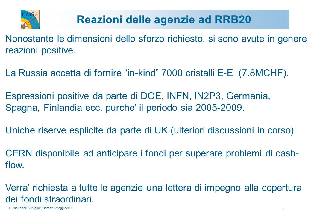 GuidoTonelli /Gruppo1/Roma/16Maggio2005 7 Reazioni delle agenzie ad RRB20 Nonostante le dimensioni dello sforzo richiesto, si sono avute in genere reazioni positive.