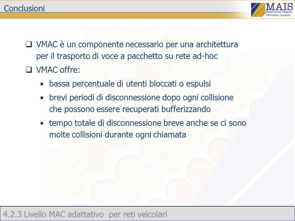 4.2.3 Livello MAC adattativo per reti veicolari Conclusioni  VMAC è un componente necessario per una architettura per il trasporto di voce a pacchetto su rete ad-hoc  VMAC offre: bassa percentuale di utenti bloccati o espulsi brevi periodi di disconnessione dopo ogni collisione che possono essere recuperati bufferizzando tempo totale di disconnessione breve anche se ci sono molte collisioni durante ogni chiamata