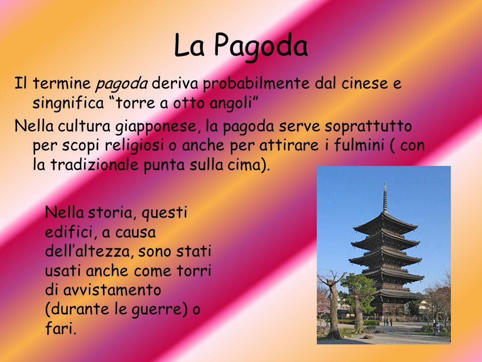 """La Pagoda Il termine pagoda deriva probabilmente dal cinese e singnifica """"torre a otto angoli"""" Nella cultura giapponese, la pagoda serve soprattutto p"""