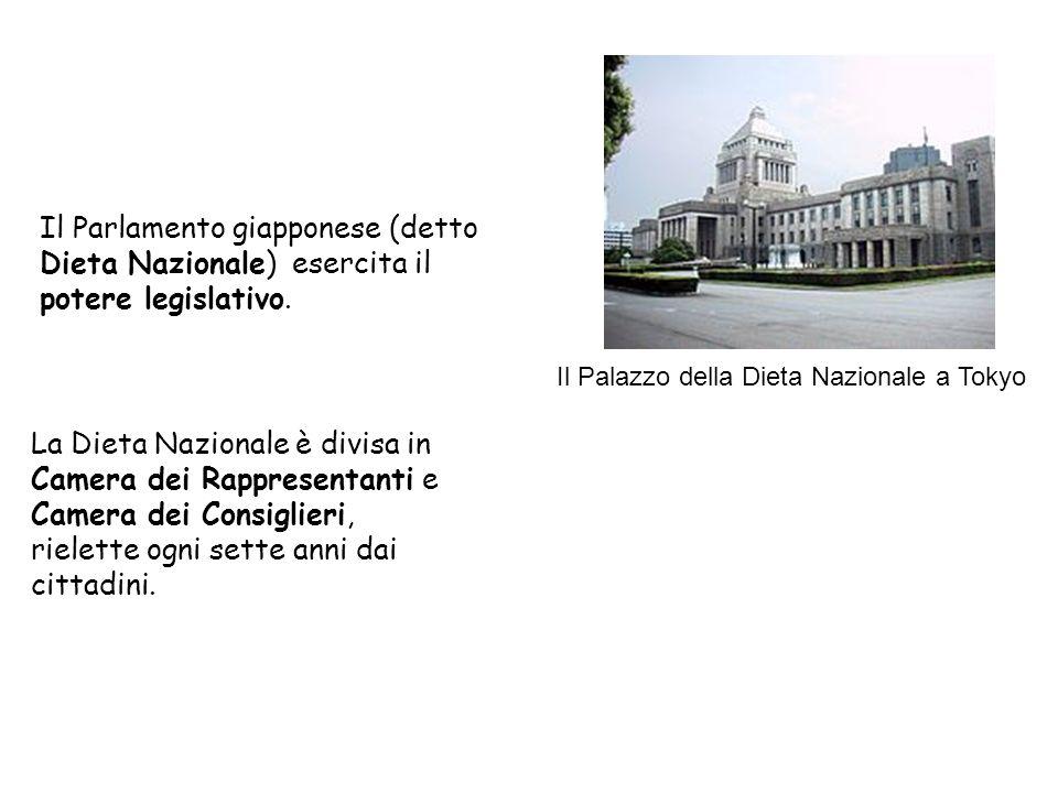 Il Parlamento giapponese (detto Dieta Nazionale) esercita il potere legislativo. La Dieta Nazionale è divisa in Camera dei Rappresentanti e Camera dei
