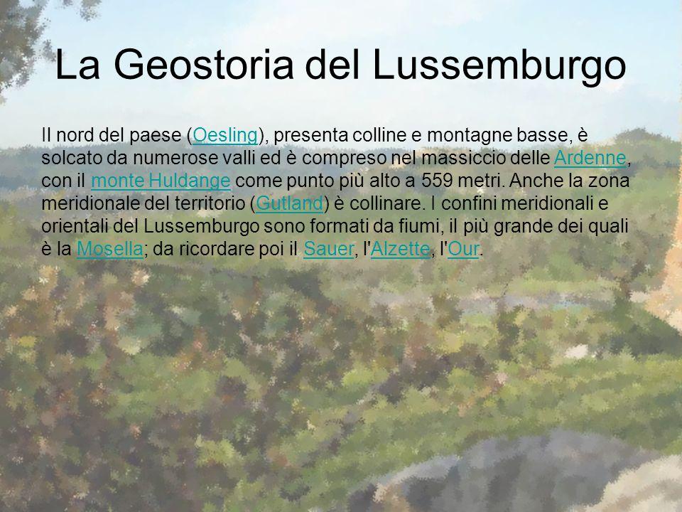 La Geostoria del Lussemburgo Il nord del paese (Oesling), presenta colline e montagne basse, è solcato da numerose valli ed è compreso nel massiccio d