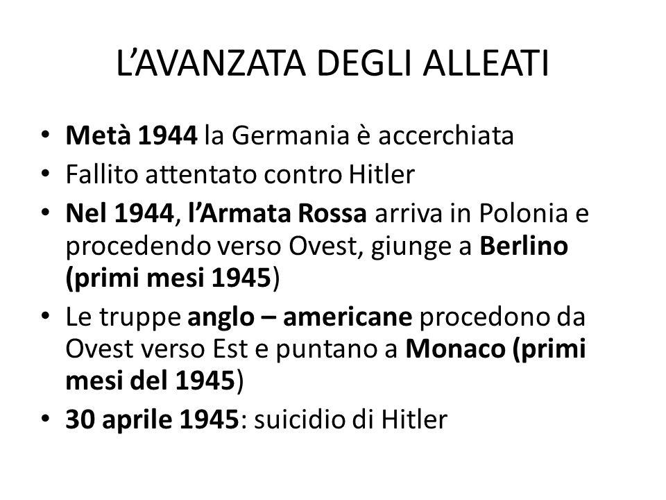 L'AVANZATA DEGLI ALLEATI Metà 1944 la Germania è accerchiata Fallito attentato contro Hitler Nel 1944, l'Armata Rossa arriva in Polonia e procedendo v
