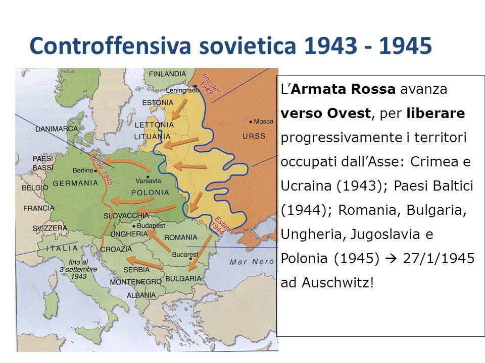 Controffensiva sovietica 1943 - 1945 L'Armata Rossa avanza verso Ovest, per liberare progressivamente i territori occupati dall'Asse: Crimea e Ucraina
