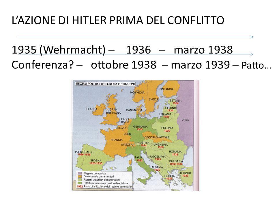 L'AZIONE DI HITLER PRIMA DEL CONFLITTO 1935 (Wehrmacht) – 1936 – marzo 1938 Conferenza? – ottobre 1938 – marzo 1939 – Patto…