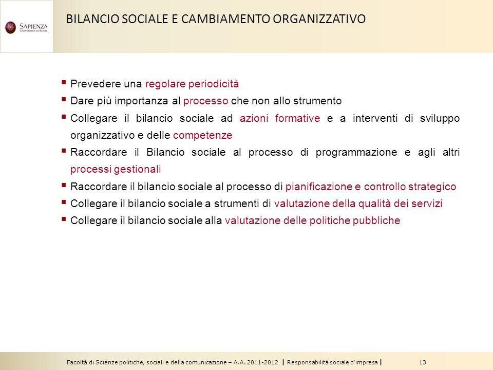 Facoltà di Scienze politiche, sociali e della comunicazione – A.A. 2011-2012 | Responsabilità sociale d'impresa | 13 BILANCIO SOCIALE E CAMBIAMENTO OR