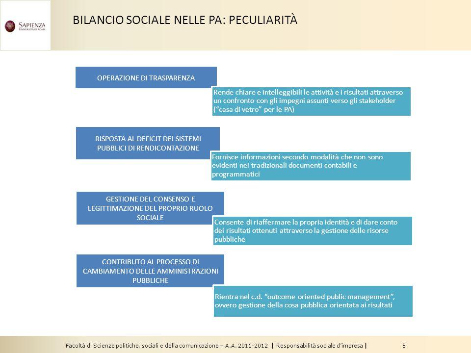 Facoltà di Scienze politiche, sociali e della comunicazione – A.A. 2011-2012 | Responsabilità sociale d'impresa | 5 OPERAZIONE DI TRASPARENZA RISPOSTA