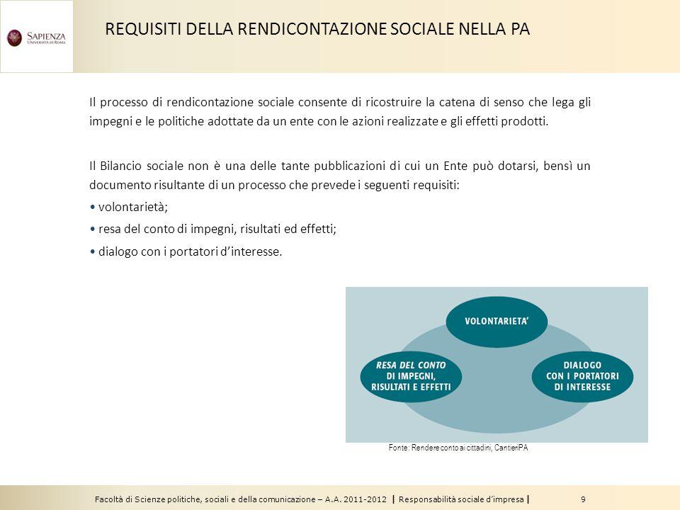 Facoltà di Scienze politiche, sociali e della comunicazione – A.A. 2011-2012 | Responsabilità sociale d'impresa | 9 Il processo di rendicontazione soc