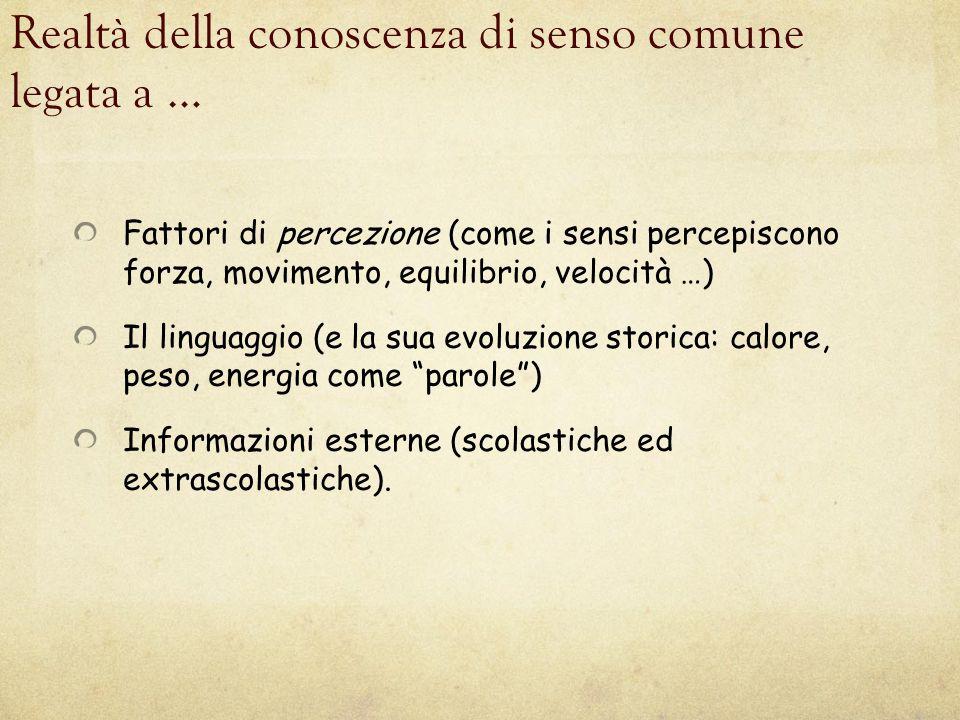 Realtà della conoscenza di senso comune legata a … Fattori di percezione (come i sensi percepiscono forza, movimento, equilibrio, velocità …) Il lingu