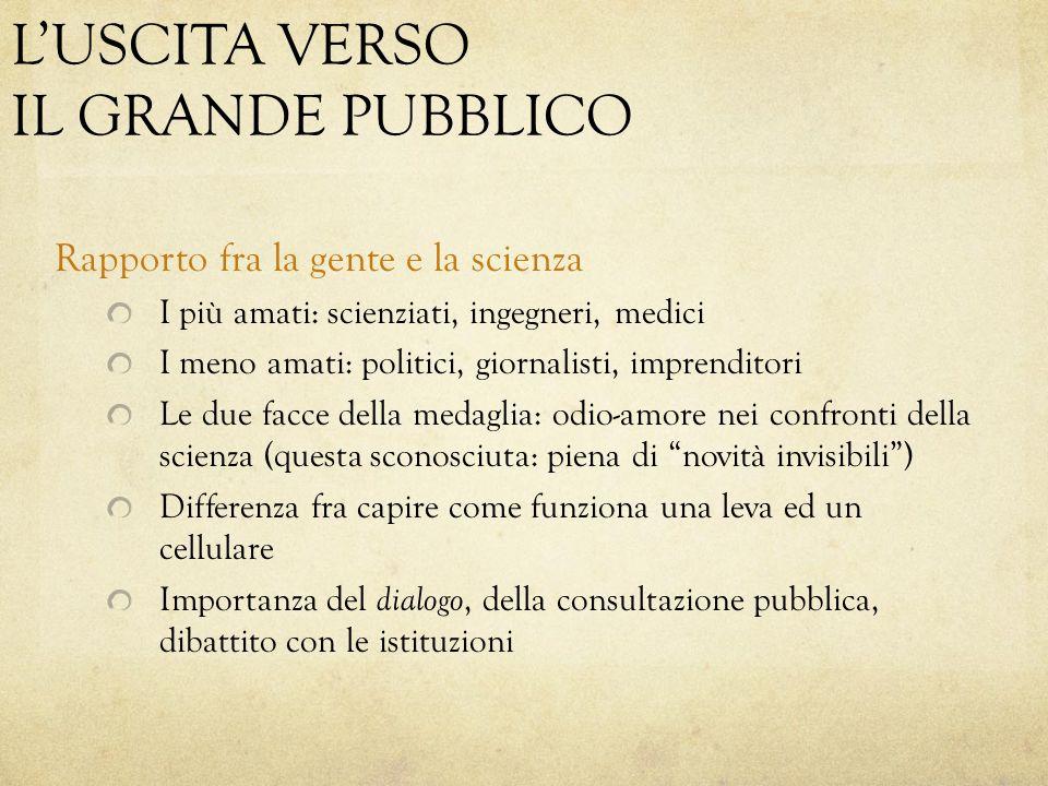 L'USCITA VERSO IL GRANDE PUBBLICO Rapporto fra la gente e la scienza I più amati: scienziati, ingegneri, medici I meno amati: politici, giornalisti, i