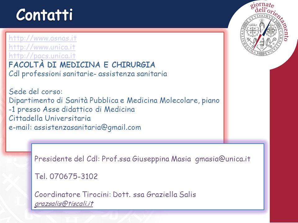 http://www.asnas.it http://www.unica.it http://pacs.unica.it FACOLTÀ DI MEDICINA E CHIRURGIA Cdl professioni sanitarie- assistenza sanitaria Sede del corso: Dipartimento di Sanità Pubblica e Medicina Molecolare, piano -1 presso Asse didattico di Medicina Cittadella Universitaria e-mail: assistenzasanitaria@gmail.com Presidente del Cdl: Prof.ssa Giuseppina Masia gmasia@unica.it Tel.
