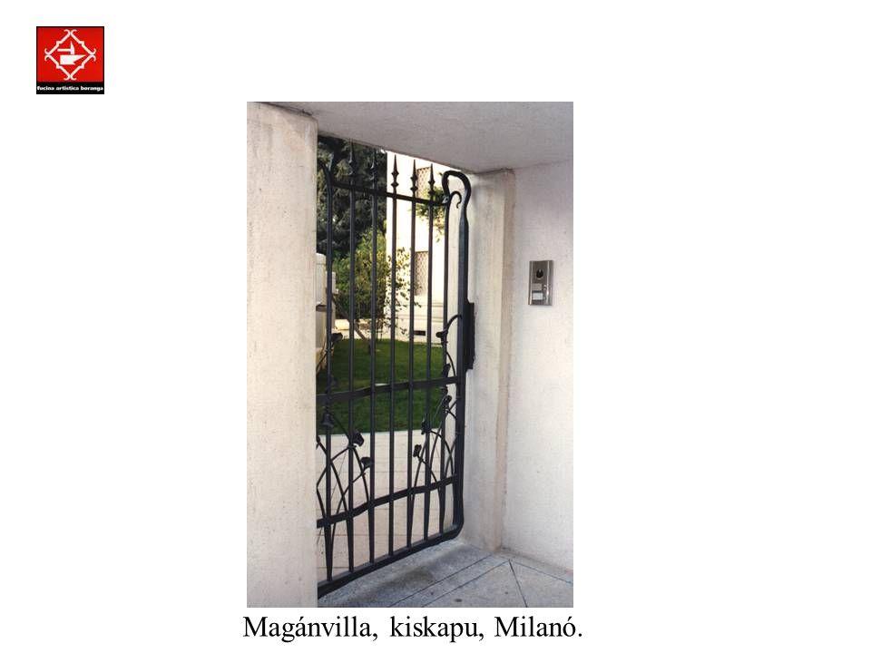 Prodotti assemblati a regola d'arte con la tecnica della chiodatura. Magánvilla, kiskapu, Milanó.