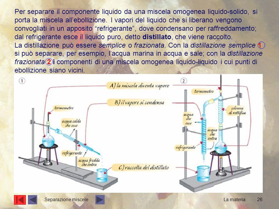 26 Per separare il componente liquido da una miscela omogenea liquido-solido, si porta la miscela all'ebollizione. I vapori del liquido che si liberan