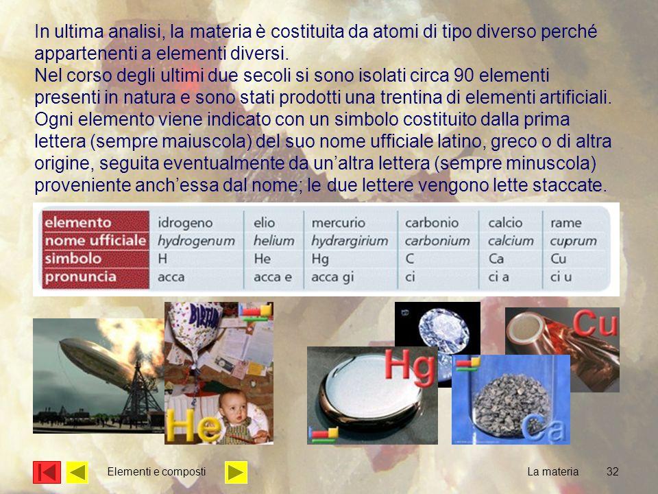 32 In ultima analisi, la materia è costituita da atomi di tipo diverso perché appartenenti a elementi diversi.