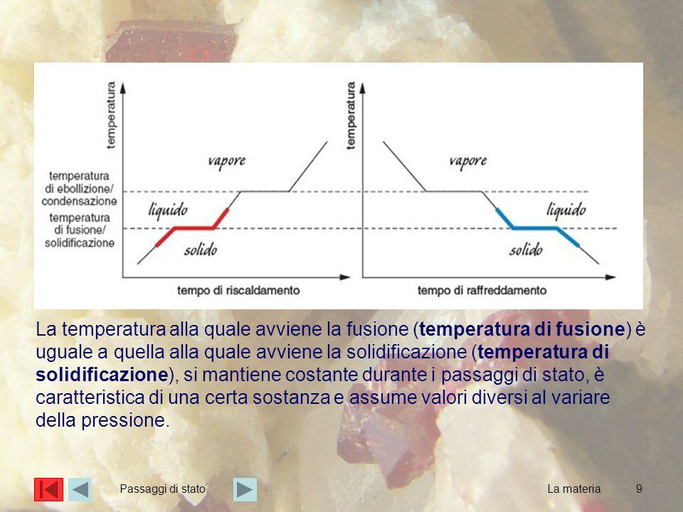 9 La temperatura alla quale avviene la fusione (temperatura di fusione) è uguale a quella alla quale avviene la solidificazione (temperatura di solidificazione), si mantiene costante durante i passaggi di stato, è caratteristica di una certa sostanza e assume valori diversi al variare della pressione.