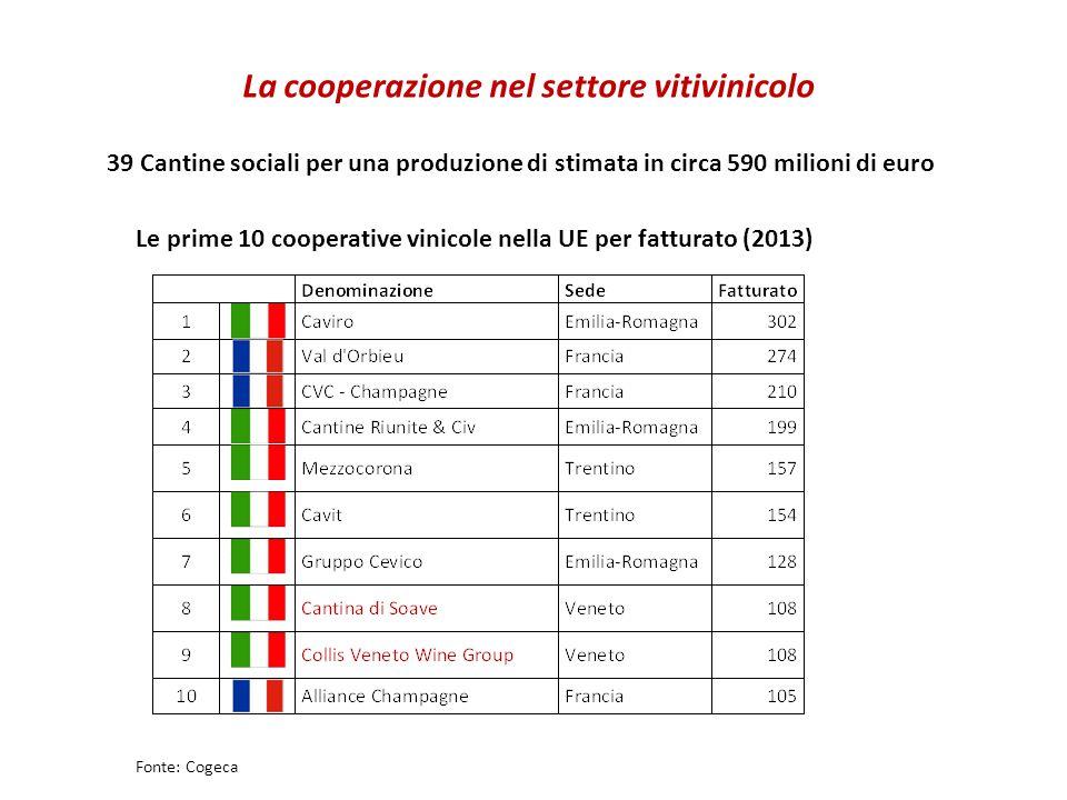 La cooperazione nel settore vitivinicolo 39 Cantine sociali per una produzione di stimata in circa 590 milioni di euro Fonte: Cogeca Le prime 10 cooperative vinicole nella UE per fatturato (2013)