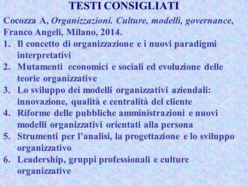 Cocozza A, Organizzazioni. Culture, modelli, governance, Franco Angeli, Milano, 2014. 1.Il concetto di organizzazione e i nuovi paradigmi interpretati