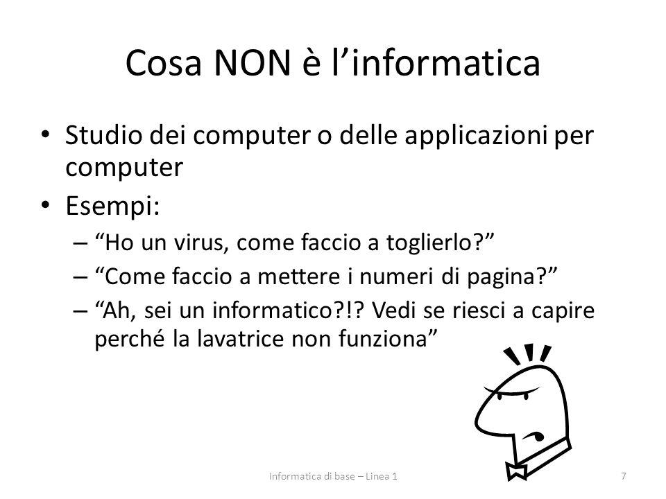 Cosa NON è l'informatica Studio dei computer o delle applicazioni per computer Esempi: – Ho un virus, come faccio a toglierlo? – Come faccio a mettere i numeri di pagina? – Ah, sei un informatico?!.