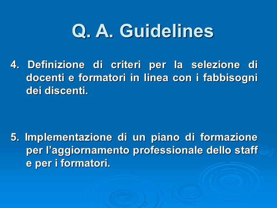 4. Definizione di criteri per la selezione di docenti e formatori in linea con i fabbisogni dei discenti. 5. Implementazione di un piano di formazione