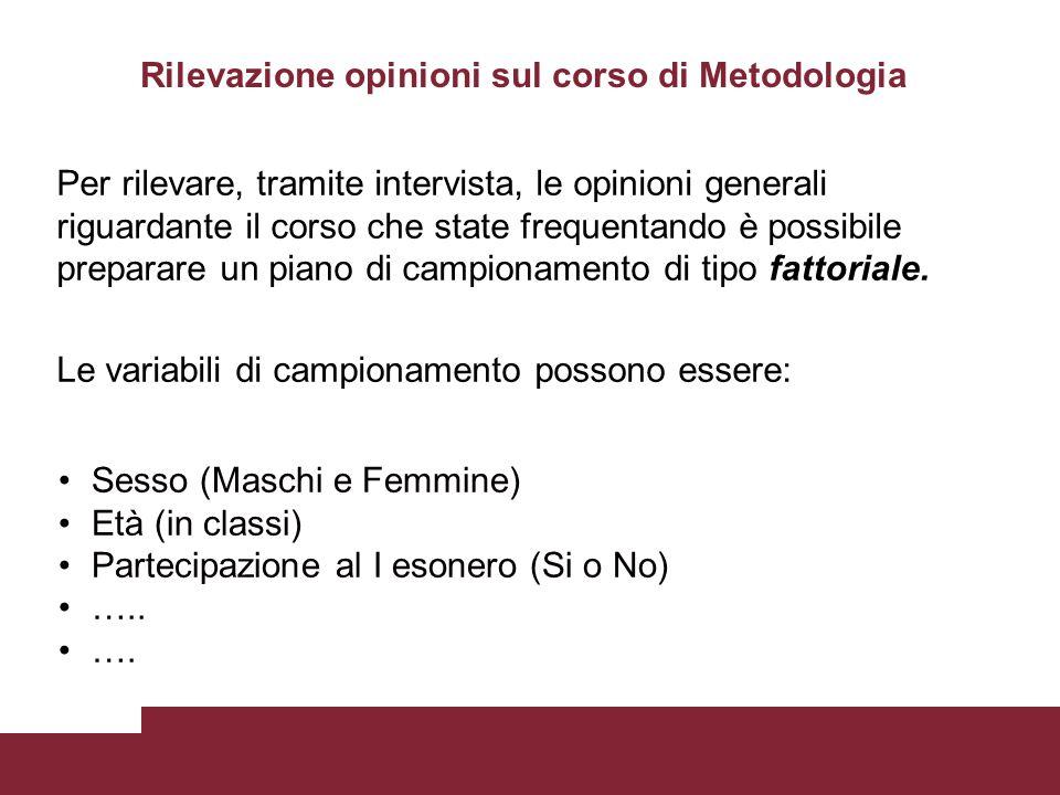 Rilevazione opinioni sul corso di Metodologia Per rilevare, tramite intervista, le opinioni generali riguardante il corso che state frequentando è pos