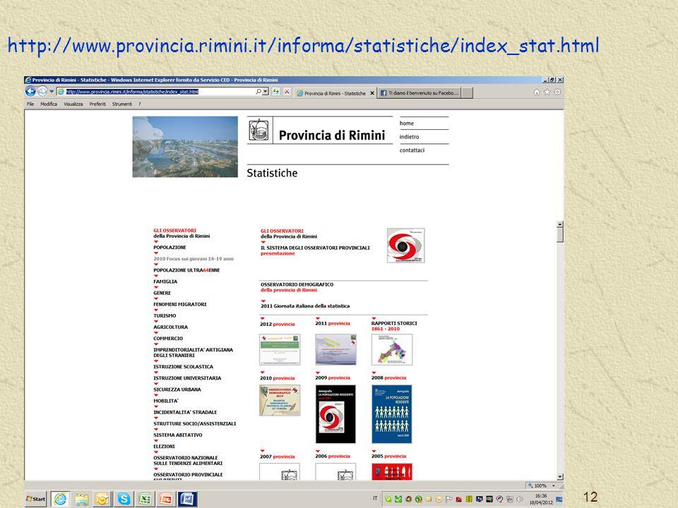 http://www.provincia.rimini.it/informa/statistiche/index_stat.html PROVINCIA DI RIMINI - SERVIZIO STATISTICA 12