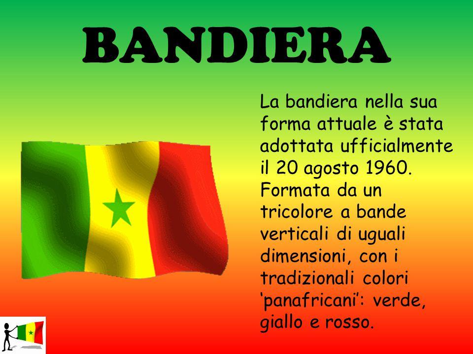 BANDIERA La bandiera nella sua forma attuale è stata adottata ufficialmente il 20 agosto 1960. Formata da un tricolore a bande verticali di uguali dim