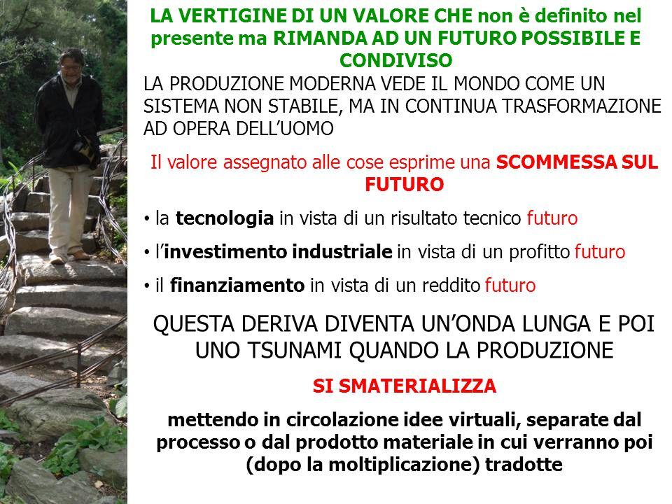 LA PRODUZIONE MODERNA VEDE IL MONDO COME UN SISTEMA NON STABILE, MA IN CONTINUA TRASFORMAZIONE AD OPERA DELL'UOMO Il valore assegnato alle cose esprime una SCOMMESSA SUL FUTURO la tecnologia in vista di un risultato tecnico futuro l'investimento industriale in vista di un profitto futuro il finanziamento in vista di un reddito futuro QUESTA DERIVA DIVENTA UN'ONDA LUNGA E POI UNO TSUNAMI QUANDO LA PRODUZIONE SI SMATERIALIZZA mettendo in circolazione idee virtuali, separate dal processo o dal prodotto materiale in cui verranno poi (dopo la moltiplicazione) tradotte LA VERTIGINE DI UN VALORE CHE non è definito nel presente ma RIMANDA AD UN FUTURO POSSIBILE E CONDIVISO