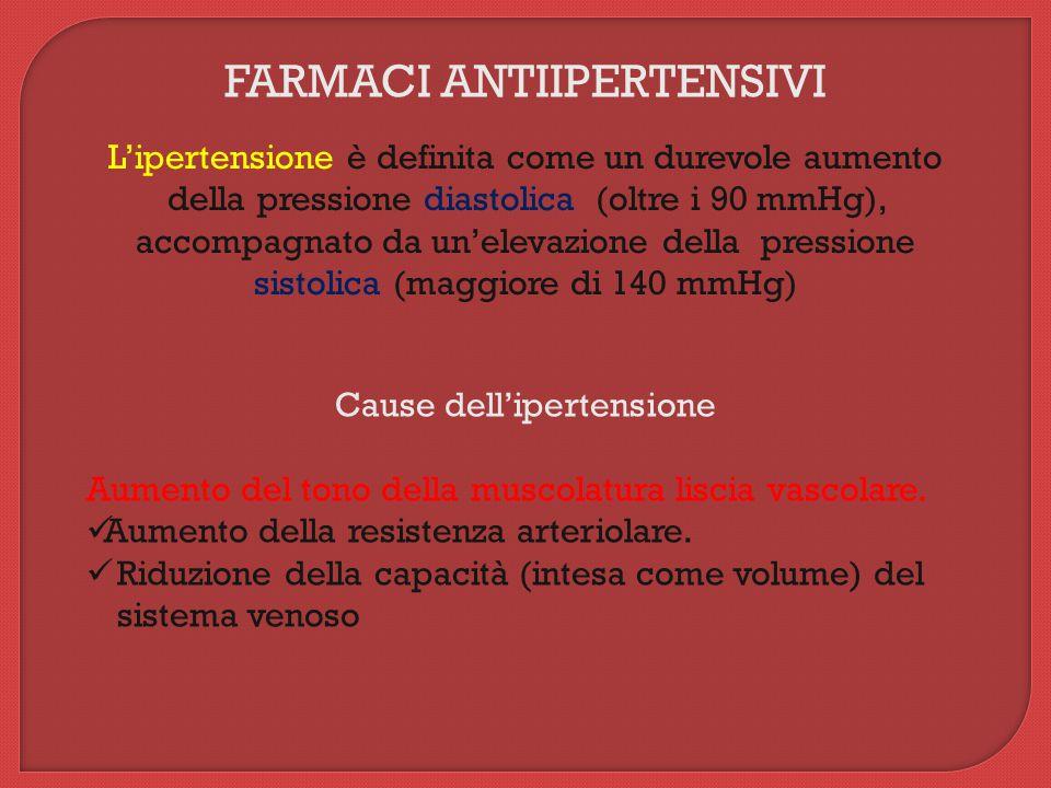 FARMACI ANTIIPERTENSIVI L'ipertensione è definita come un durevole aumento della pressione diastolica (oltre i 90 mmHg), accompagnato da un'elevazione della pressione sistolica (maggiore di 140 mmHg) Cause dell'ipertensione Aumento del tono della muscolatura liscia vascolare.