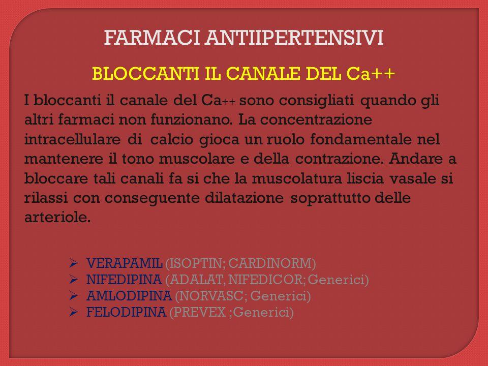 FARMACI ANTIIPERTENSIVI BLOCCANTI IL CANALE DEL Ca++ I bloccanti il canale del Ca ++ sono consigliati quando gli altri farmaci non funzionano.