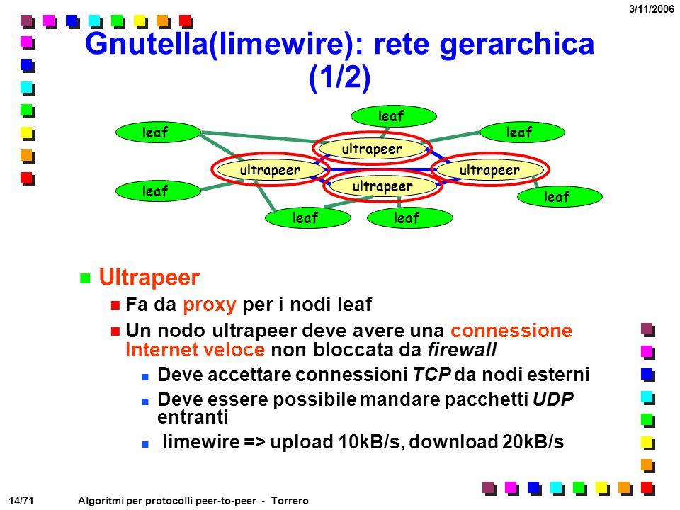 14/71 3/11/2006 Algoritmi per protocolli peer-to-peer - Torrero leaf Gnutella(limewire): rete gerarchica (1/2) Ultrapeer Fa da proxy per i nodi leaf U