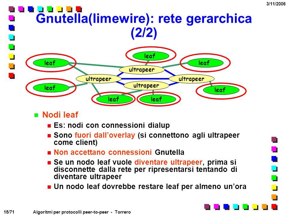 15/71 3/11/2006 Algoritmi per protocolli peer-to-peer - Torrero Gnutella(limewire): rete gerarchica (2/2) Nodi leaf Es: nodi con connessioni dialup So