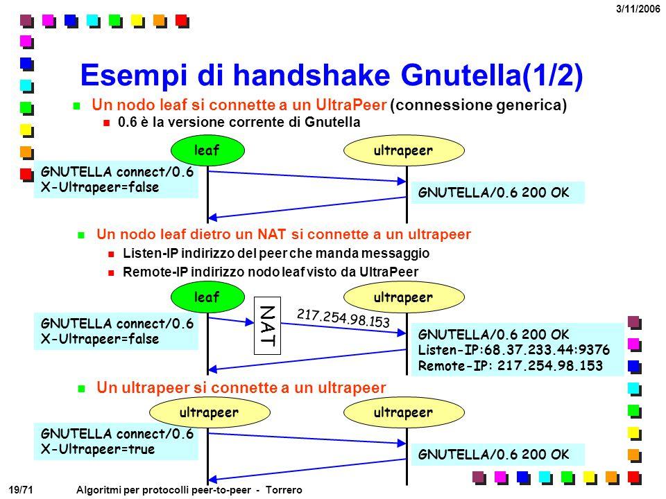 19/71 3/11/2006 Algoritmi per protocolli peer-to-peer - Torrero Esempi di handshake Gnutella(1/2) Un nodo leaf si connette a un UltraPeer (connessione