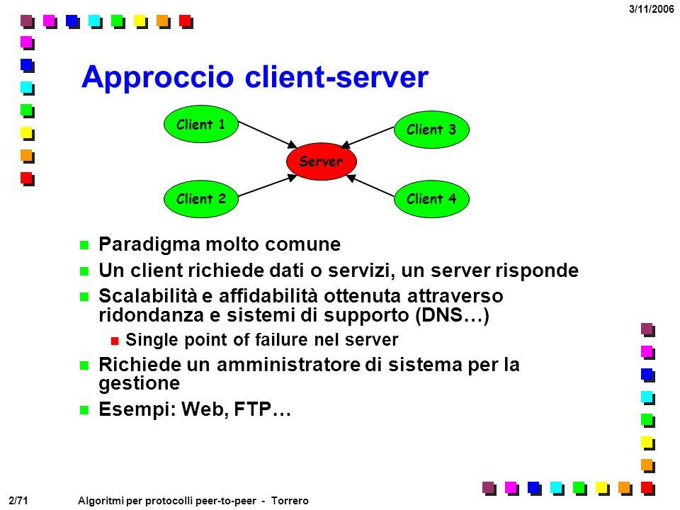 2/71 3/11/2006 Algoritmi per protocolli peer-to-peer - Torrero Approccio client-server Paradigma molto comune Un client richiede dati o servizi, un se