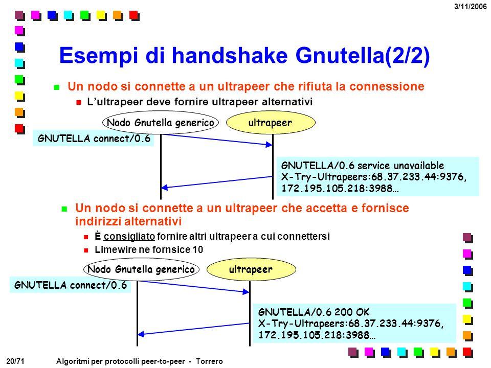 20/71 3/11/2006 Algoritmi per protocolli peer-to-peer - Torrero Esempi di handshake Gnutella(2/2) Un nodo si connette a un ultrapeer che rifiuta la co