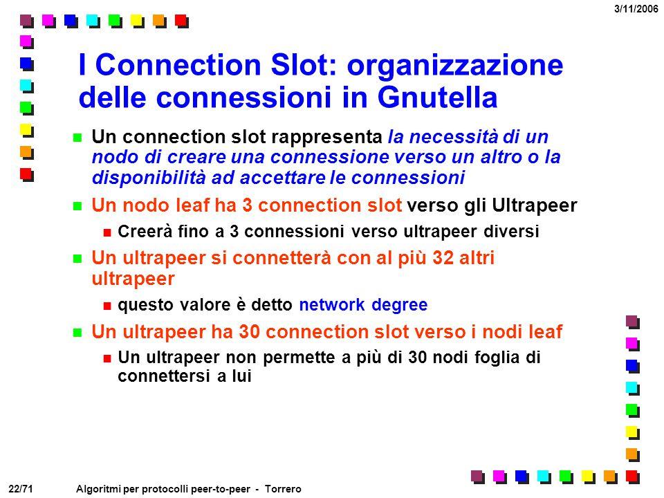 22/71 3/11/2006 Algoritmi per protocolli peer-to-peer - Torrero I Connection Slot: organizzazione delle connessioni in Gnutella Un connection slot rap