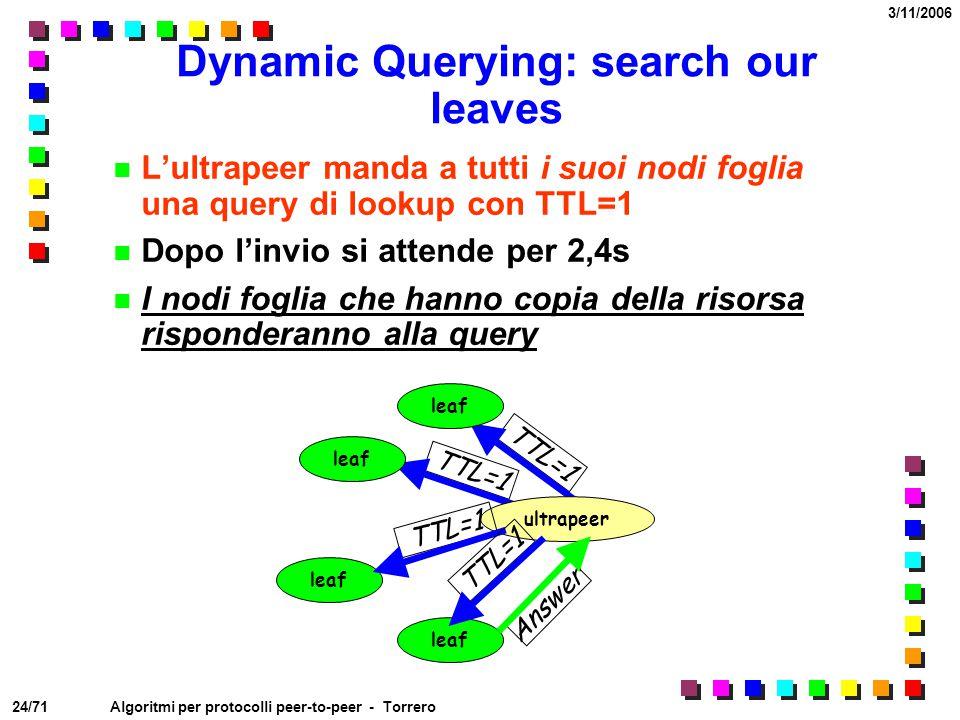 24/71 3/11/2006 Algoritmi per protocolli peer-to-peer - Torrero TTL=1 Dynamic Querying: search our leaves L'ultrapeer manda a tutti i suoi nodi foglia