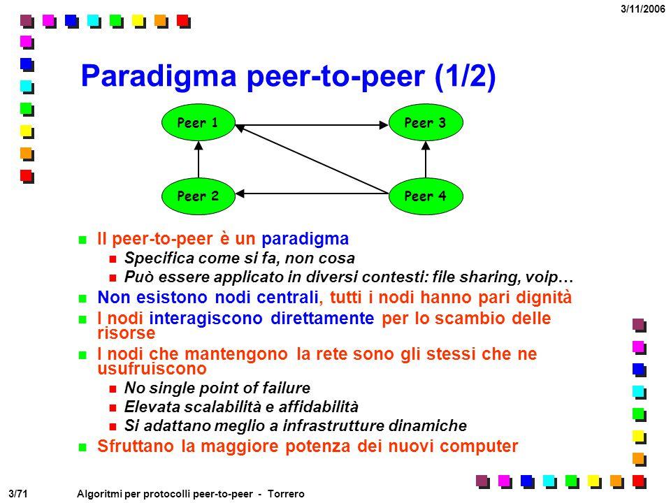 3/71 3/11/2006 Algoritmi per protocolli peer-to-peer - Torrero Paradigma peer-to-peer (1/2) Il peer-to-peer è un paradigma Specifica come si fa, non c