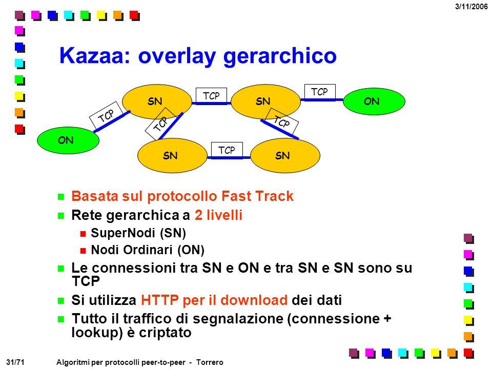 31/71 3/11/2006 Algoritmi per protocolli peer-to-peer - Torrero Kazaa: overlay gerarchico Basata sul protocollo Fast Track Rete gerarchica a 2 livelli
