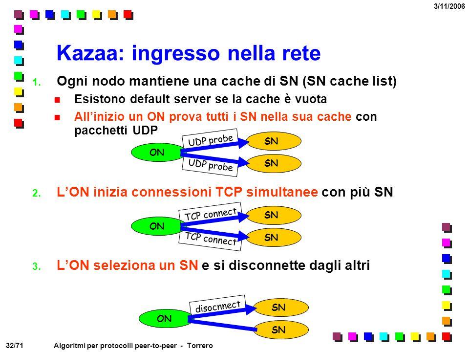 32/71 3/11/2006 Algoritmi per protocolli peer-to-peer - Torrero Kazaa: ingresso nella rete 1. Ogni nodo mantiene una cache di SN (SN cache list) Esist