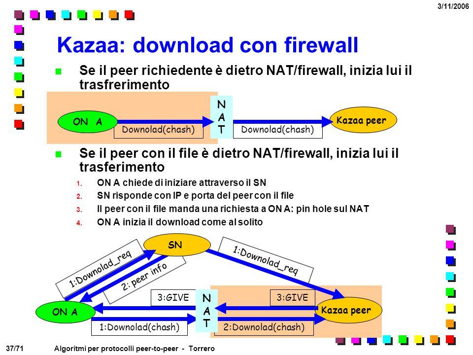 37/71 3/11/2006 Algoritmi per protocolli peer-to-peer - Torrero Kazaa: download con firewall Se il peer richiedente è dietro NAT/firewall, inizia lui